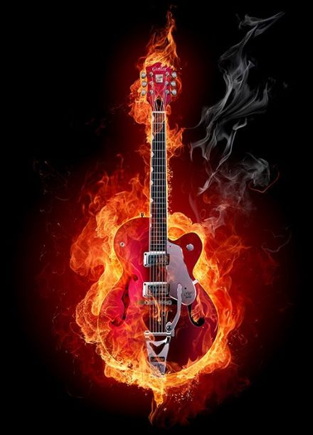 Burning red guitar wall mural